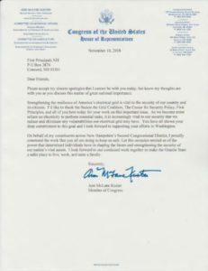 Congresswoman Ann Kuster Letter